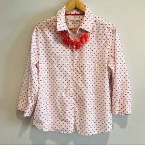 White and red polka dot button down